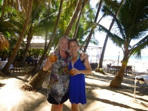 Mom and I enjoying some Pipa's on Tamarindo beach
