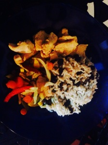 Lizano chicken, sauteed peppers and rice and beans!