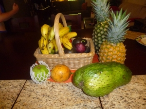 Our farmers market haul, with my Guanabana front and centre!