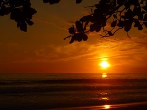 Sunset on the beautiful beach of Playa Matapalo