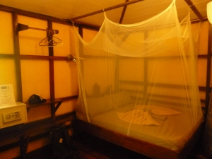 Our cute little room...first time with mosquito netting!