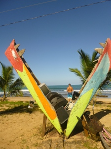 Some cool beach art work in Bocas