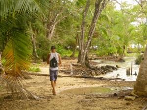 Wandering the path around the beach
