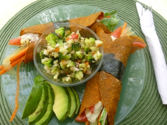 Marinated Veggies in a Raw Plantain Wrap, Robins, Nosara
